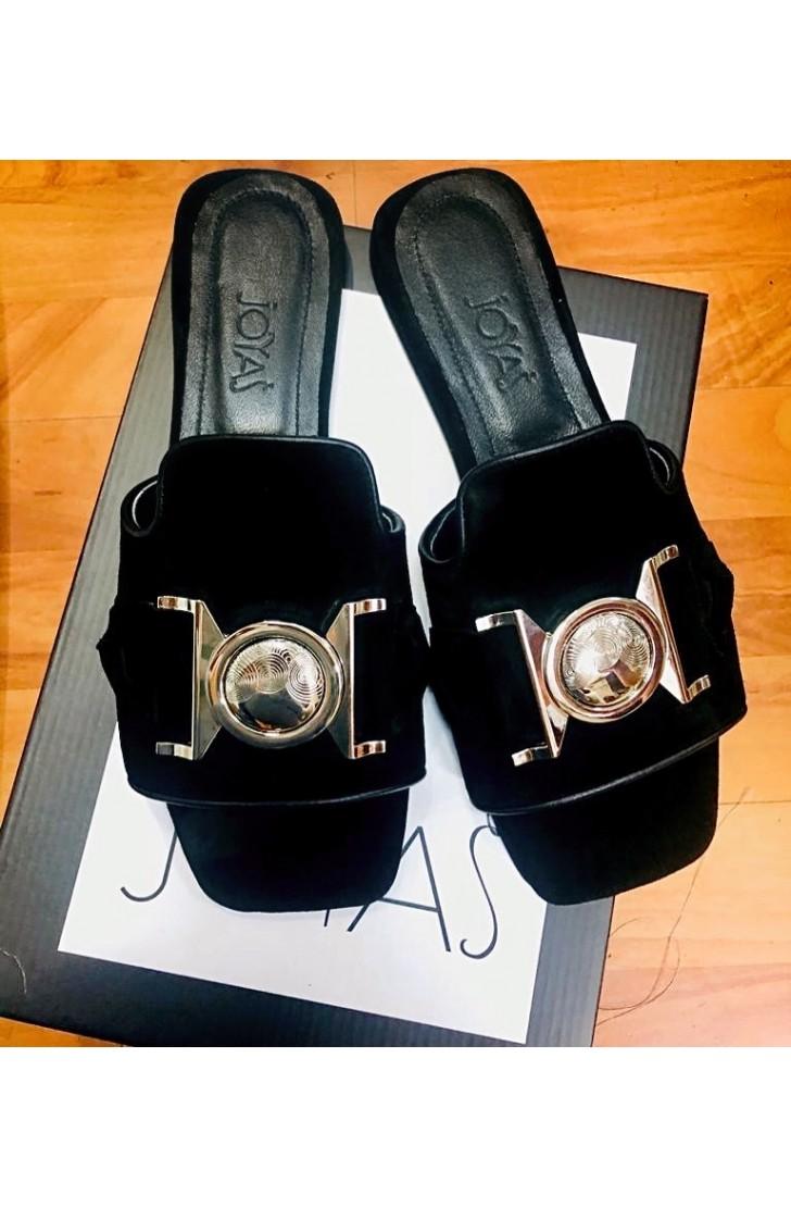 Papuci dama din piele naturala Santorini Black