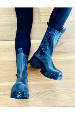 Oslo black long boots