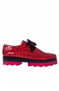 Pantofi dama din piele naturala rosii Alexia