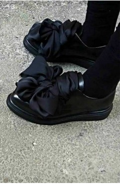 Pantofi oxford dama din piele naturala negri Bow