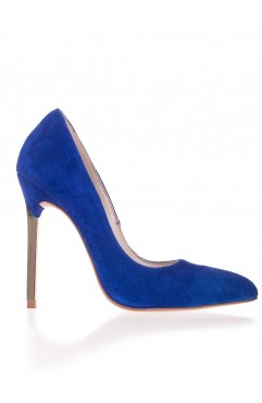 Pantofi dama din piele naturala Caroline Albastri Piele Intoarsa