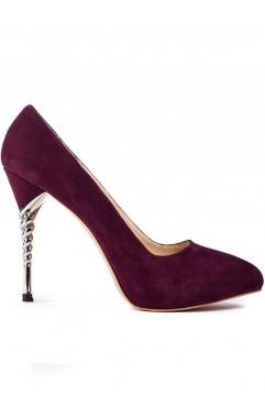 Pantofi  dama din piele naturala cu toc Zoe Bordo