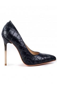 Pantofi dama din piele naturala cu toc Keira Negri