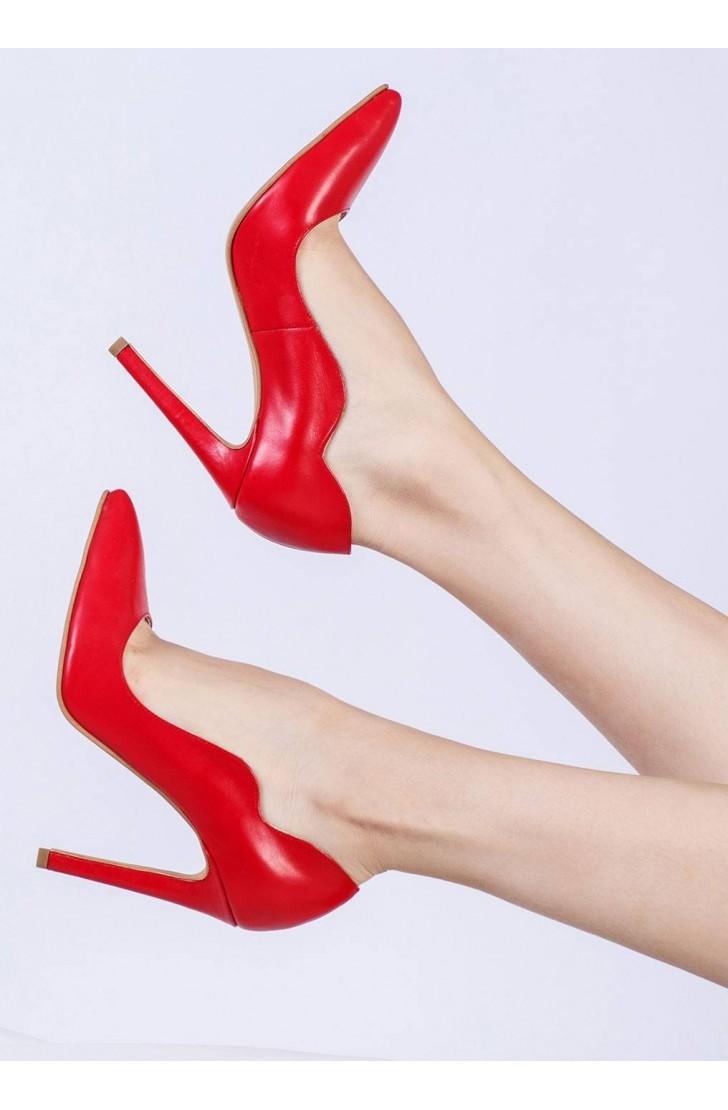 Pantofi dama din piele naturala Aria Rosii