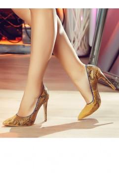 Pantofi dama din piele naturala cu toc Ekans