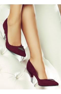 Pantofi dama din piele naturala cu toc Annora Bordo