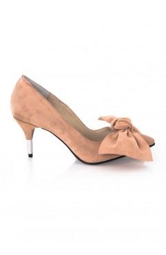 Pantofi dama din piele naturala cu toc Eris Roz