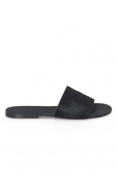 Black Bliss pony leather slipper