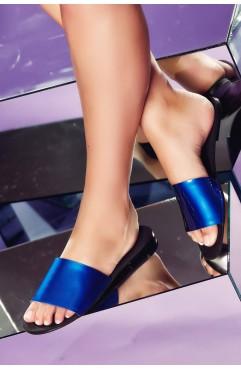 Papuci  dama din piele naturala Andora Albastri
