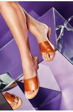 Papuci  dama din piele naturala Latte