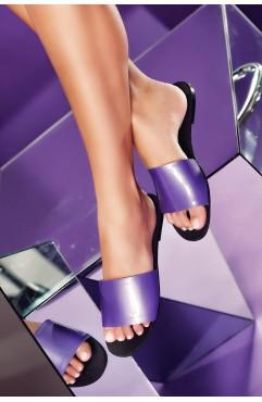 Papuci  dama din piele naturala Andora Mov