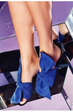 Papuci  dama din piele naturala Sonia Albastri