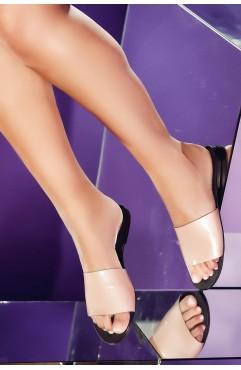 Papuci  dama din piele naturala Andora Roz