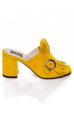 Stardust yellow mules