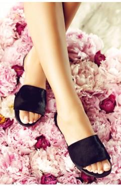 Papuci  dama din piele naturala Bliss Ponei Negri