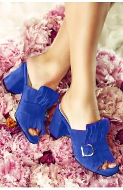 Papuci dama din piele naturala cu toc Stardust Albastri