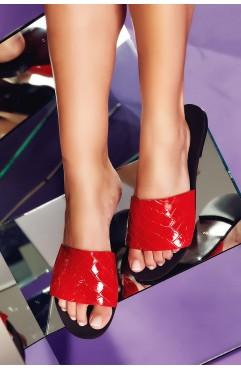 Papuci  dama din piele naturala Andora Rosii
