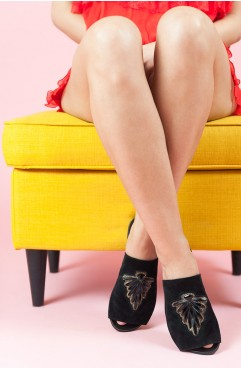 Papuci dama din piele naturala negri Star