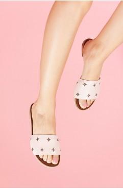 Papuci dama din piele naturala Paloma Roz
