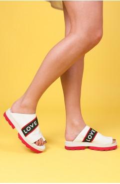 Papuci dama din piele naturala Albi Fiona