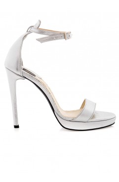Sandale dama din piele naturala cu toc Adeline Argintii - Platforma