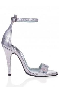 Sandale dama din piele naturala cu toc Adeline Croco Argintiu