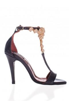 Sandale  dama din piele naturala cu toc Darlene - Accesoriu Bej