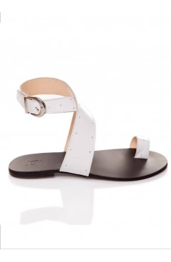 Sandale dama din piele naturala Bambi Albe