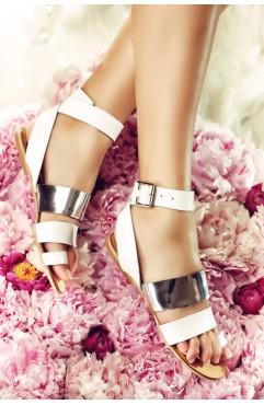 Sandale dama din piele naturala Jamelia Albe