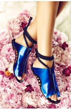 Sandale dama din piele naturala Coconut Albastru Inchis