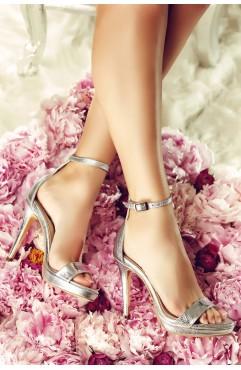 Sandale dama din piele naturala cu toc Adeline Croc Argintii Cu Platforma