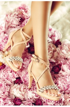 Sandale dama din piele naturala roz cu toc Pearl