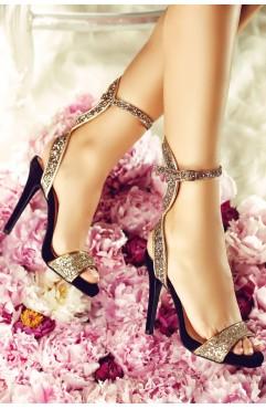 Sandale  dama din piele naturala cu toc Layla