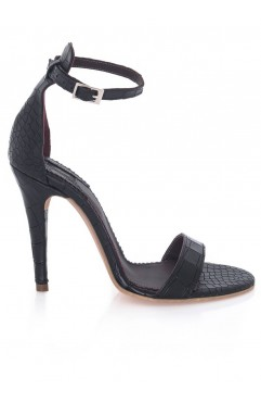 The Black Croco Adeline Sandals