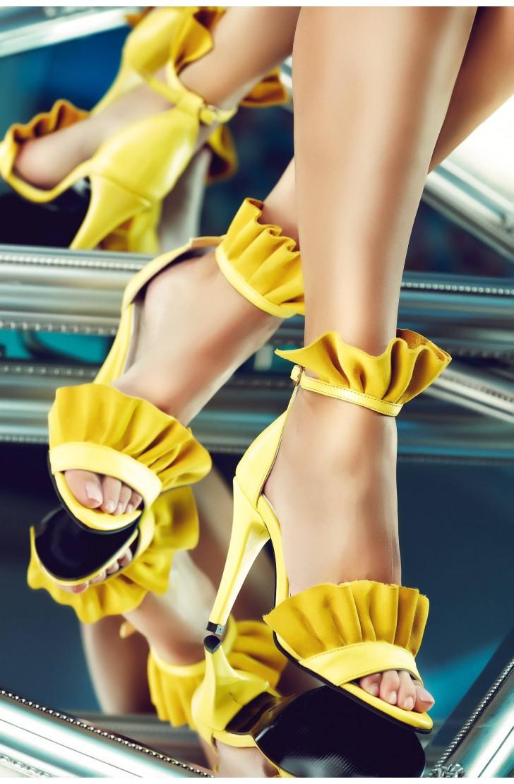 Sandale dama din piele naturala Krissy Galbene
