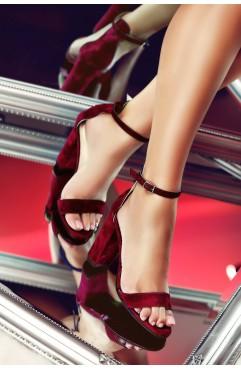 Sandale dama din piele naturala Thea Burgundy