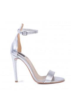 Sandale dama din piele naturala cu toc Adeline Argintii