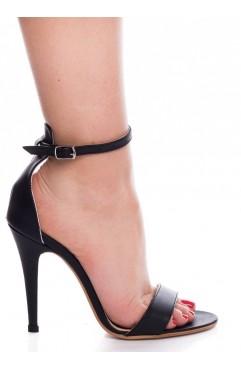 Sandale dama din piele naturala cu toc Adeline Negre