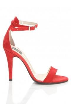 Sandale dama din piele naturala cu toc  Adeline Rosii