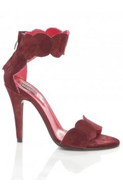 Sandale dama din piele naturala cu toc Aubrielle bordo