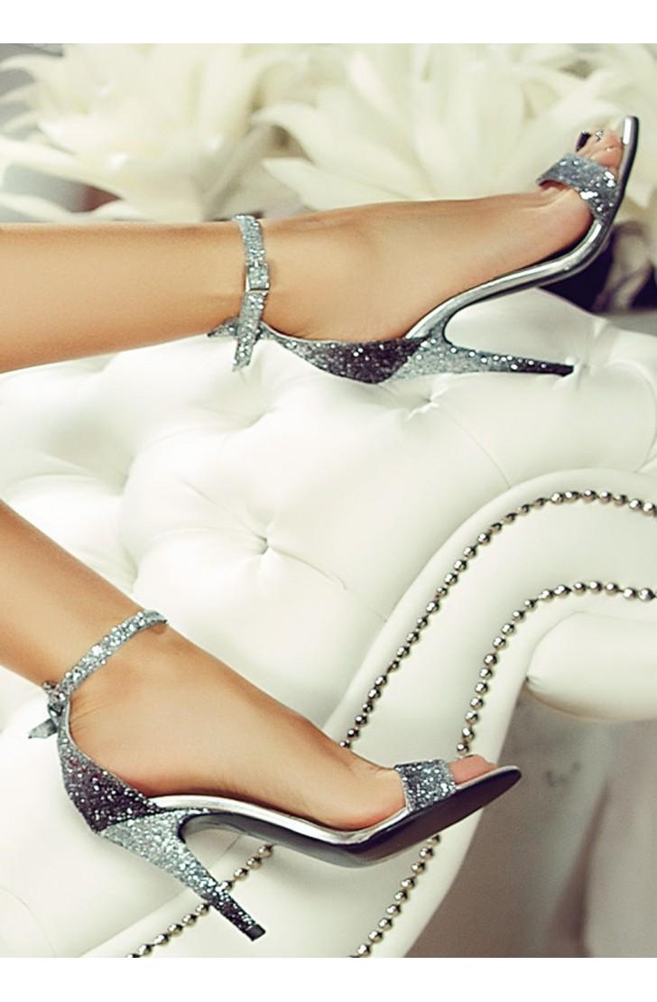 Sandale dama din piele naturala cu toc  Adeline Glitter Argintii