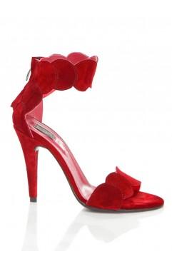 Sandale  dama din piele naturala cu toc Aubrielle Rosii