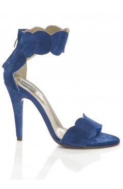 Sandale  dama din piele naturala cu toc Aubrielle Albastre