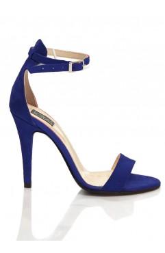 Sandale dama din piele naturala cu toc  Adeline Albastre