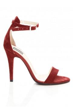 Sandale  dama din piele naturala cu toc Adeline Bordo
