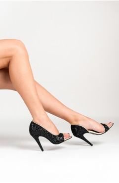 Sandale dama din piele naturala cu toc Negre Cinderella