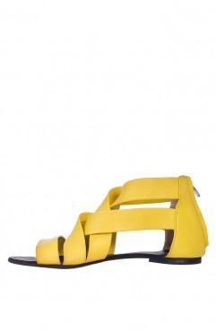 Sandale dama din piele naturala Bella galbene