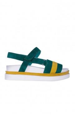 Odessa green platform sandals