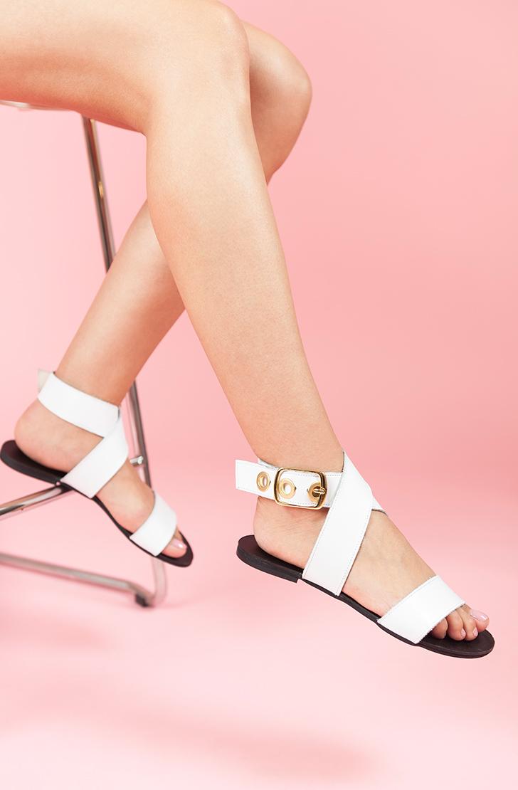 Sandale dama din piele naturala Sophie Albe