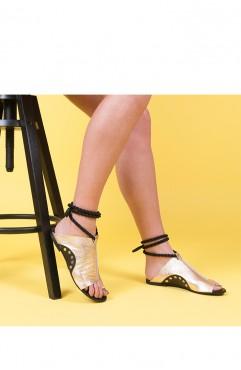 Sandale dama din piele naturala Coconut Gold